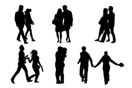 elegant couple: happy couple  silhouettes, vector collection