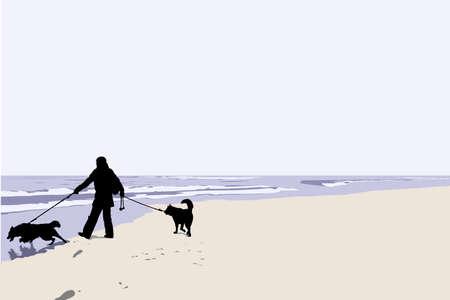 morning walk: vector illustration of man walking his dogs  Illustration