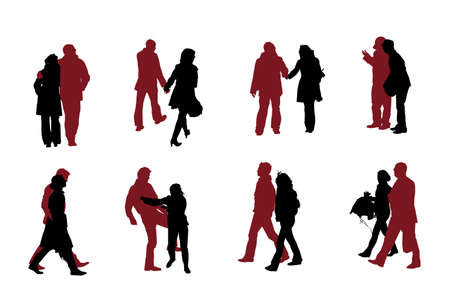 eight couple  silhouettes vector collection   イラスト・ベクター素材