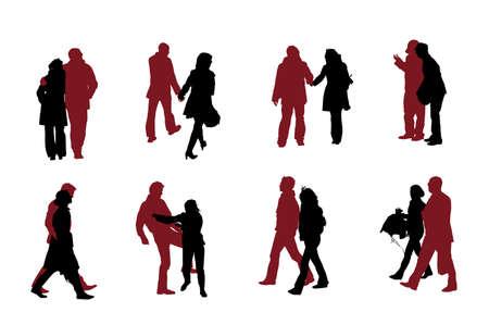eight couple  silhouettes vector collection  Vector