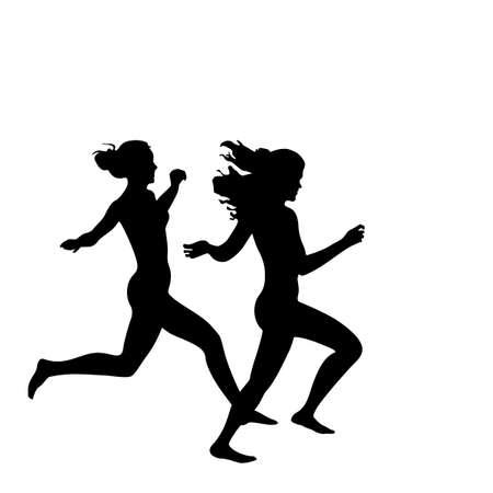 two joyful girls running silhouette Stock Vector - 3839749