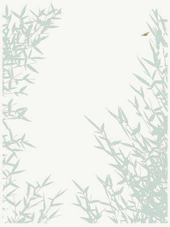 bamboo background  with butterfly, vector illustration Vector