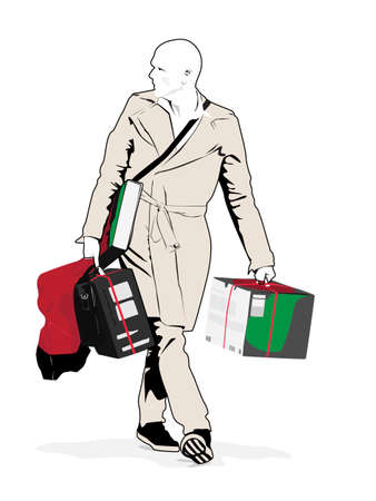 man full body: illustration of gentleman carrying purchased items Illustration