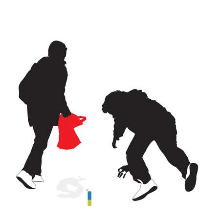 endanger: children   playing with fireworks, vector illustration