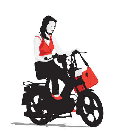 moped: young girl riding moped
