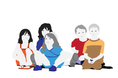 small group: small group of children sitting Illustration