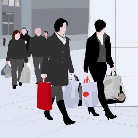 frau ganzk�rper: Shopping-Vektor