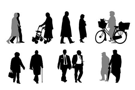 dog walker: vector collection of senior  silhouettes