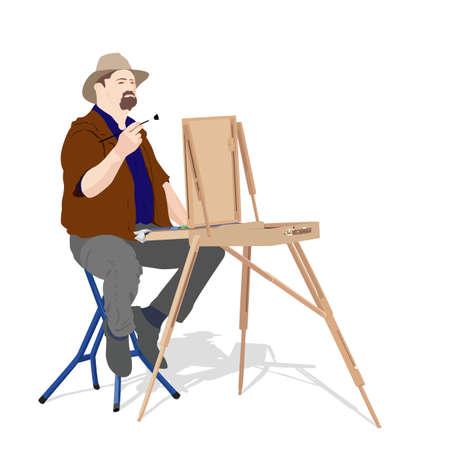 man full body: vector illustration of artist painting outdoors