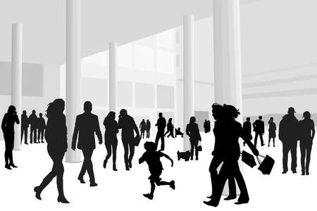 illustration of people in shopping center Vector