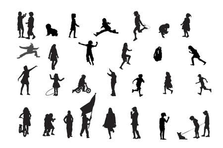 children playing vector silhouettes collection