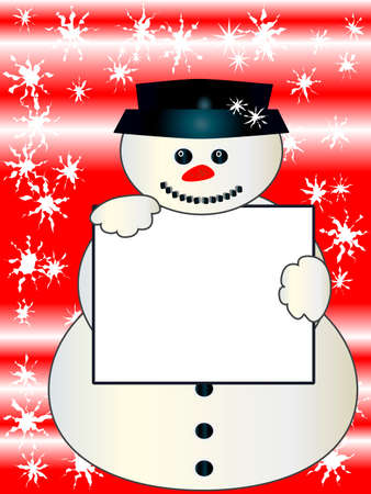 Snowman holding a blank board for your message Vector