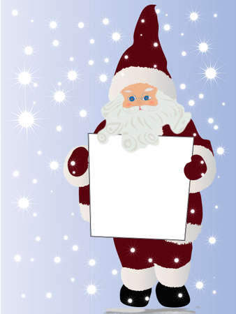 Santa Claus holding a blank board for your message Vector