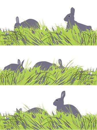vector set of  eastern  bunny motif Vector