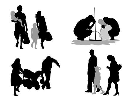 group travel: four young families, silhouette  vector collection Illustration