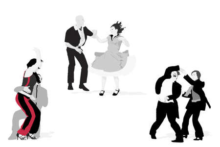 three couples dancing, vector collection Vector