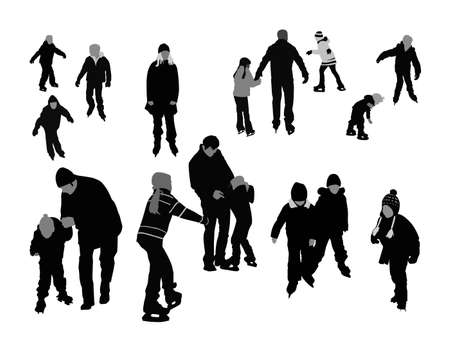family outside: people ice-skating, vector silhouettes collection for designers Illustration