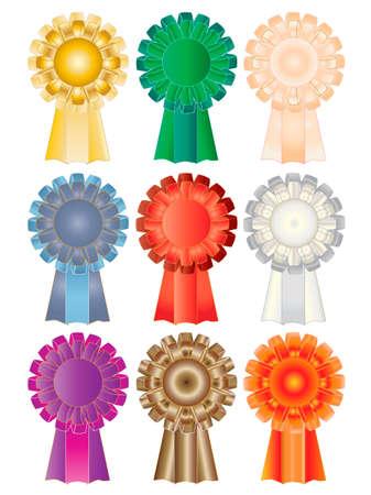 silken: colored vector illustration of nine silken rosettes
