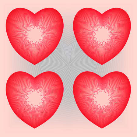 four shiny hearts on heath background Vector