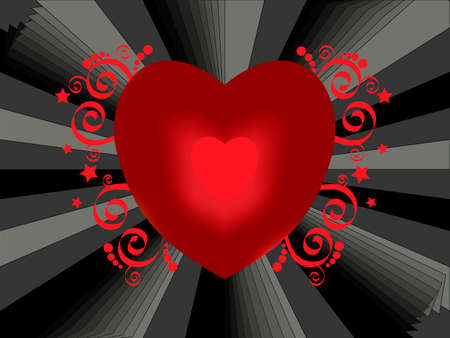 decorated red valentine hearth  vector Stock Vector - 4011760