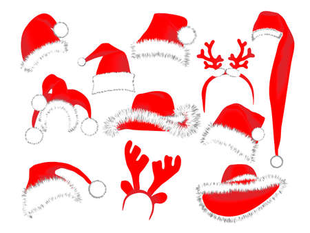 Collection of Christmas hats Stock Vector - 4031230