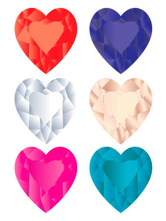 Collection of diamond shaped hearts Vector