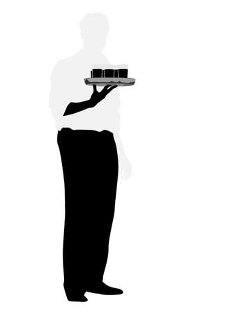 waiter serving drink silhouette Vector