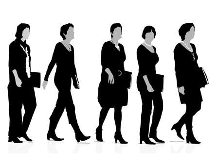 lobbying: five businesswomen silhouettes