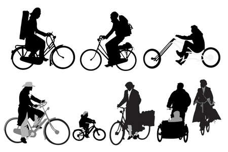 bicycling: bicyclists - collection of vector silhouettes Illustration