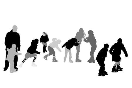 vector silhouettes of children ice-skating