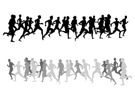 vector illustration of running people Vector