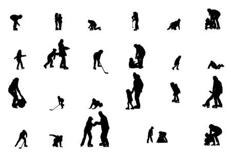 hockey equipment: collection of children ice-skating vector silhouettes