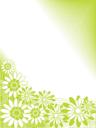 Spring floral design in green and white Stock Vector - 4131279