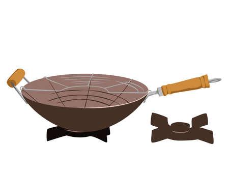 wok: illustration of wok on the oven