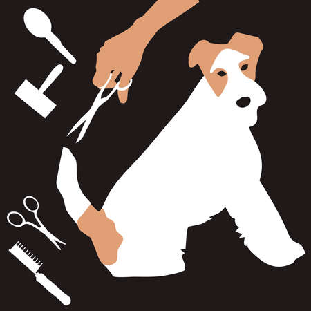 pet grooming: dog trimming salon business card