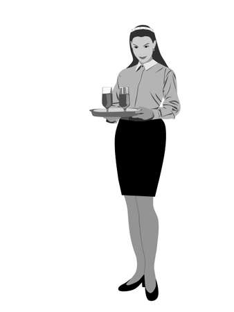 waitress  carrying platter , vector  illustration Vector