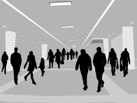 mall interior: illustration of people in shopping center