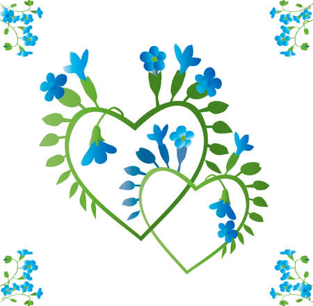 retro blue and greenforget-me-not interlaced hearts  Vector
