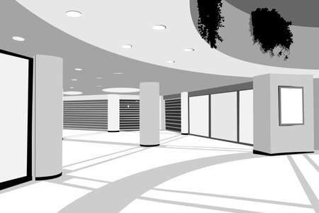 mall shopping: modern enclosed shopping center background  Illustration