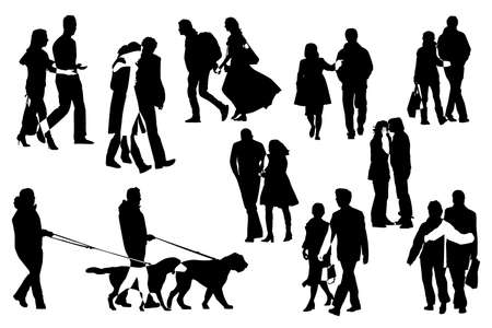 walking on hands: ten couple  silhouettes, vector collection