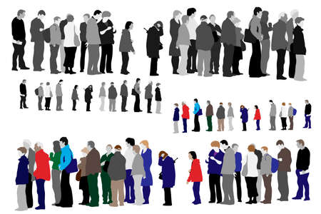 queue of people: illustration of people waiting in queue  Illustration