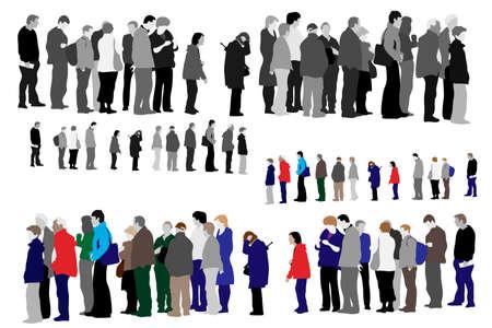 ilustración de personas esperando en la cola Ilustración de vector