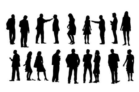 eighteen: eighteen people silhouettes, vector collection Illustration