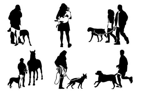 dog walking: figures with dogs, vector illustration