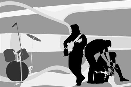 illustration of rock and roll group performing