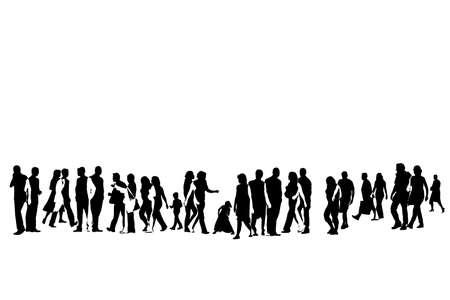 cutout: illustration of urban crowd