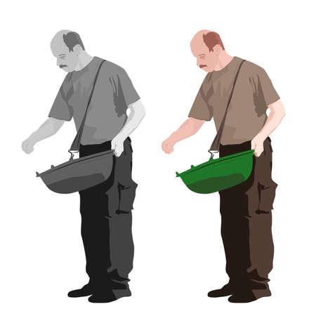 원예: illustration of man sowing, two color versions