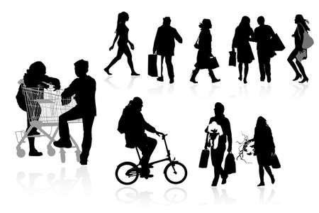 bicicleta vector: comprador siluetas, la colecci�n de los dise�adores