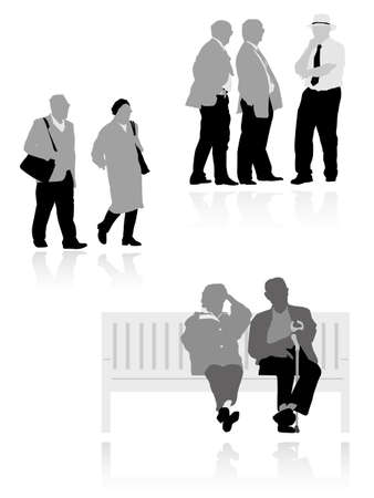 handicapped: several senior  silhouettes,  vector illustration