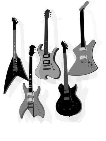 pickups: set of five electric guitars hanging
